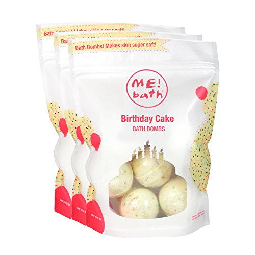 ME! Bath Mini Bath Bombs, Crafted in the USA,  Birthday Cake, Pack of 3 (18 Mini Bombs) ()