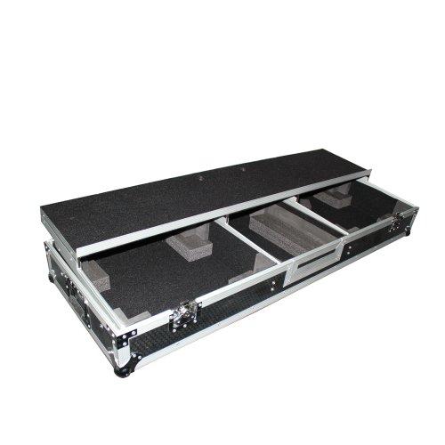 (ProX XS-TMC1012WLTFBTL Flight Case+Shelf+Wheels for (2) Turntables+10