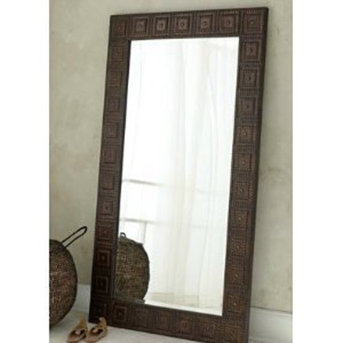 Extra large full length floor wall mirror hammered bronze for Decorative full length wall mirrors