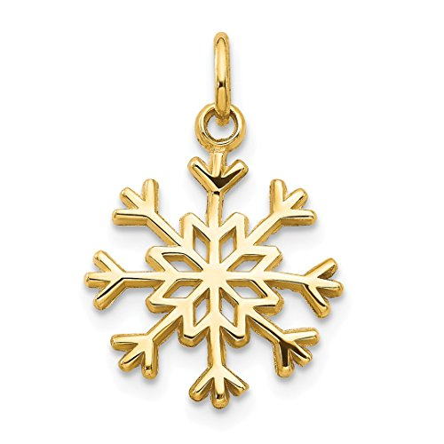 ICE CARATS 14kt Yellow Gold Snowflake Pendant Charm Necklace Holiday Fine Jewelry Ideal Gifts For Women Gift Set From Heart