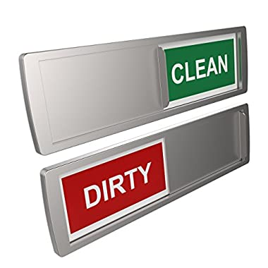 Dishwasher Magnet CLEAN & DIRTY Sign Indicator | Available in Black or Silver | Non-Scratching Magnetic Backing or 3M Sticky Tab Adhesion | Simple and Elegant | Dishwasher Cleaning