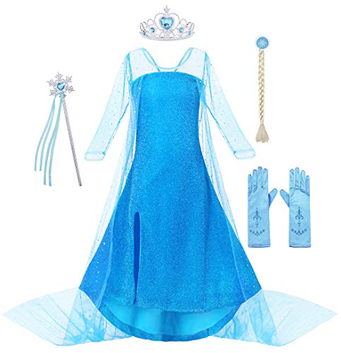 Cotrio Elsa Dress Halloween Costume for Girls Sequins Princess Dresses Fancy Party Outfits with Accessories Wig Gloves Crown Scepter Size 8 (7-8 Years, Blue, 130)