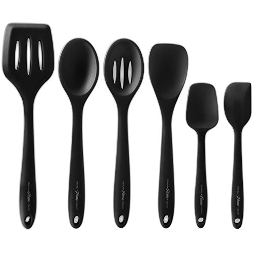 6 Piece Premium Silicone Kitchen Cooking Utensils - Professional Spatulas, Turners, Scrapers and Spoons - Hygienic, Durable, Non-Stick, Heat Resistant and Dishwasher Safe - by Premium Home Quality (Dish Pans Plastic Black compare prices)