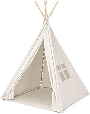 outlet store bb994 64c8f Best Choice Products 6ft Kids Cotton Canvas Teepee Playhouse Sleeping Dome  Play Tent w/ Lights, Carrying Bag - White