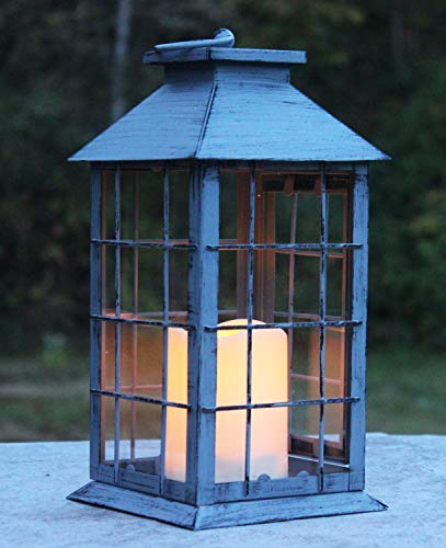 (Seraphic Country Style Gray Rustic Metal Lantern with Flickering Flameless LED)