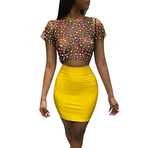 2 Piece Industrial Net - Womens 2 Piece Outfits Shorts Set Colorful Polka Dot Short Sleeve Crop Tops Slim Stretch Bodycon Midi Skirts Summer Clubwear