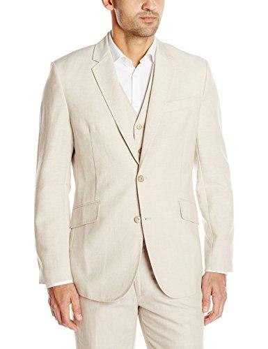 Cubavera Men's Easy Care Linen Blend Jacket, Khaki, XX-Large (Khaki Shirt Cubavera)