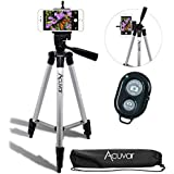 """Acuvar 50"""" Inch Aluminum Camera Tripod with Universal Smartphone Mount and Wireless Remote Control Camera Shutter for All Smartphones"""