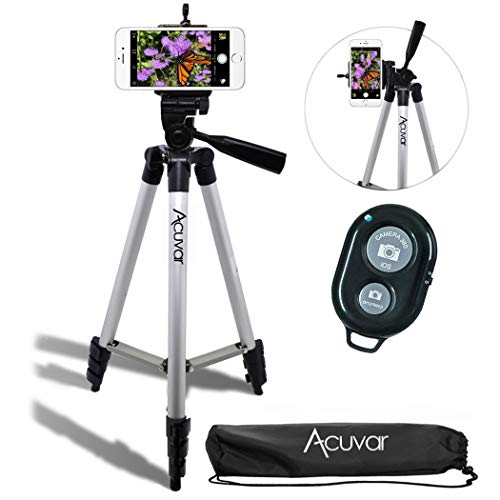 Acuvar 50' Inch Aluminum Camera Tripod with Universal Smartphone Mount and Wireless Remote...
