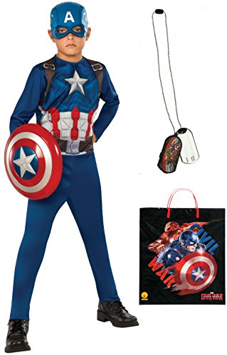 [Rubie's Costume Captain America: Civil War Captain America Costume & Accessories Bundle, Multicolor,] (Avengers 2 Captain America Costumes)