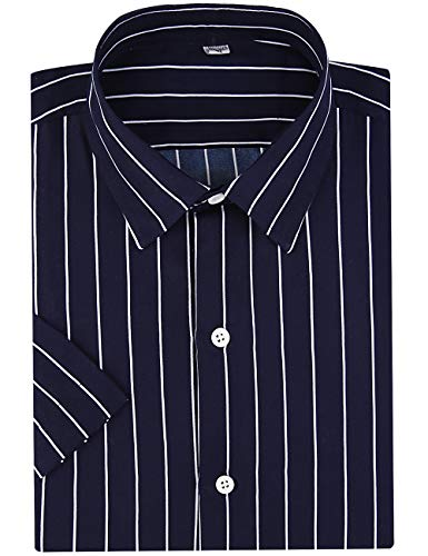 DOKKIA Men's Business Short Sleeve Vertical Striped Dress Shirts (Navy Blue White, Small) (Dress Mens Shirt Striped)