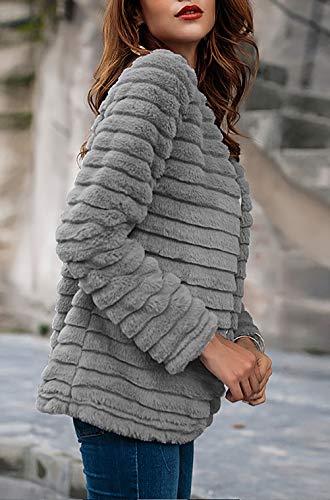 Sintetica Giacca Calda Outerwear Chic Invernali Addensare Vita Di Eleganti Giaccone Lunga Manica Pelliccia Donna Monocromo Vintage Cappotto Ragazza Fashion Alta Grigio nY86qwza8