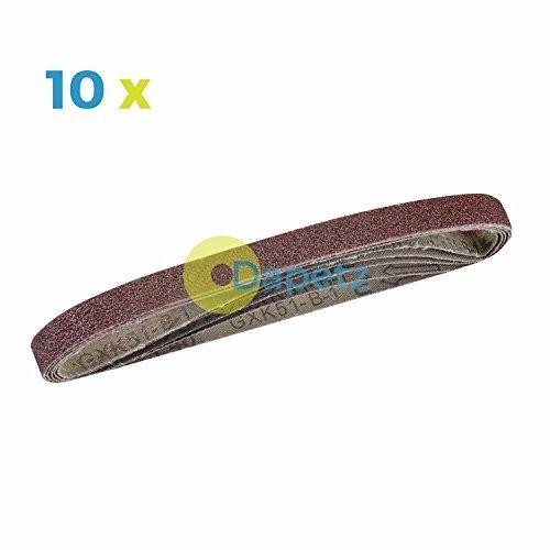 Dapetz /® 10 Powerfile Sanding Sander Belts 13mm X 457mm 60 Grit Medium Finger Sander Belt