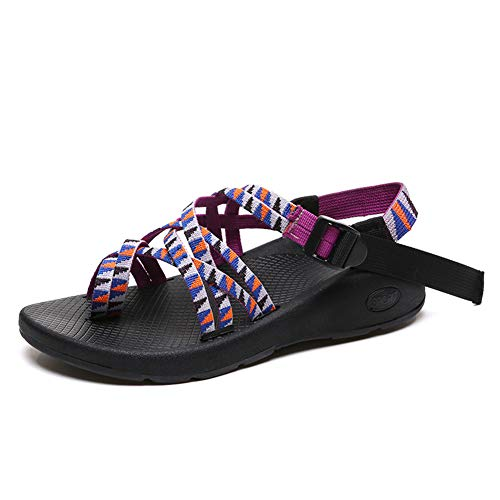 Women Sandals Ankle Buckle Classic Comfortable Lightweight Athletic Wedge Sandal Casual Flip Flops Purple