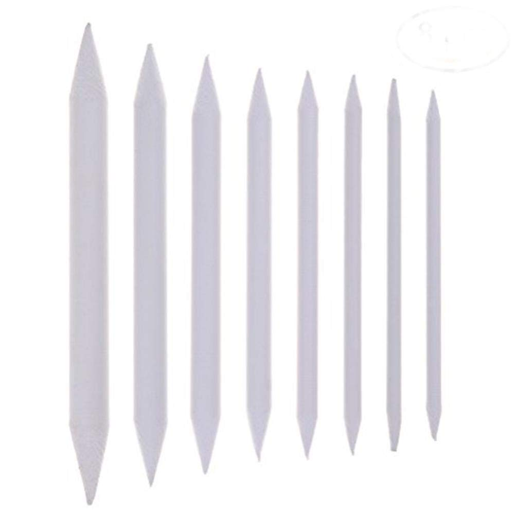 CosCosX 8 Pcs Blending Stumps and Tortillions Set Sketch Drawing Tools for Students White Art Blenders