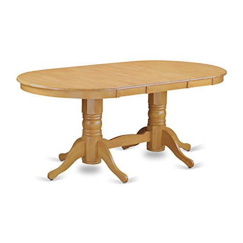 East West Furniture VAT-OAK-TP Oval Double Pedestal Dining Room Table with 17-Inch Butterfly Leaf Double Leaf Extensions