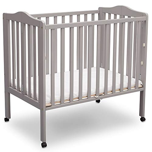 Delta Children Delta Children Folding Portable Mini Baby Crib with Mattress, Light Grey, Light Grey