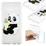 Cfrau Clear Case with Black Stylus for Samsung Galaxy S10 Plus,Stylish Colourful Print Scratch Resistant Shockproof Soft Rubber Flexible TPU Case,Baby Panda