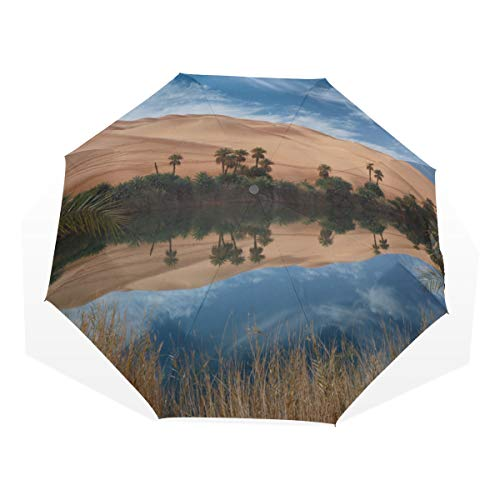 Fold Up Umbrella For Men Oasis In The Desert 3 Fold Art Umbrellas(outside Printing) Best Sun Umbrella Umbrella Travel Compact Compact Lightweight Umbrella