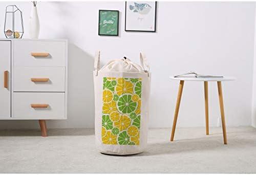 ZHONGJI ランドリーバスケット ランドリーボックス 衣類収納バスケット 巾着袋 大容量 洗濯かご 収納袋 バスルーム 寝室 折り畳み可能 防水 レモンスライスの背景