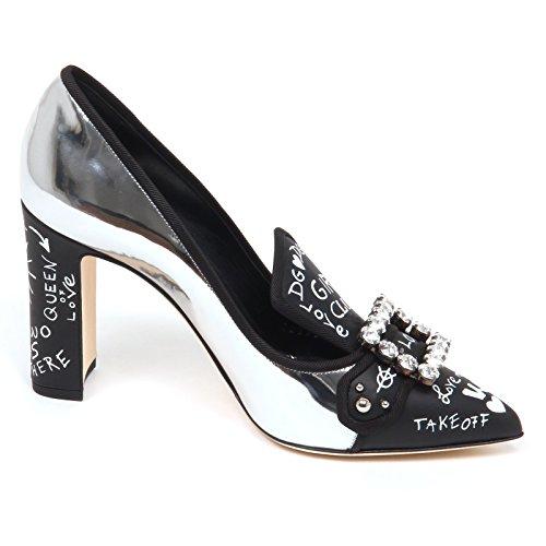 amp; E6842 noir Scarpe Woman Donna Gabbana Dolce Argent Silver Shoe Decollete f7agdnqw
