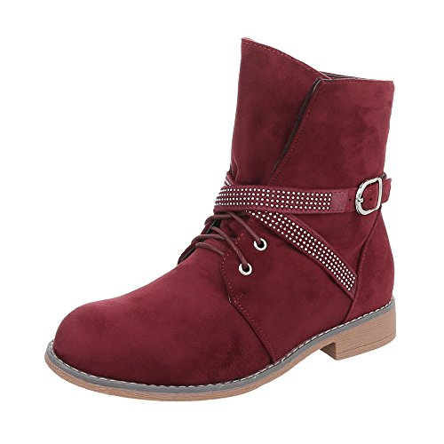 Ital-Design Women's Boots Block Heel Lace-Up Ankle Boots Weinrot W305 4SnXYO3
