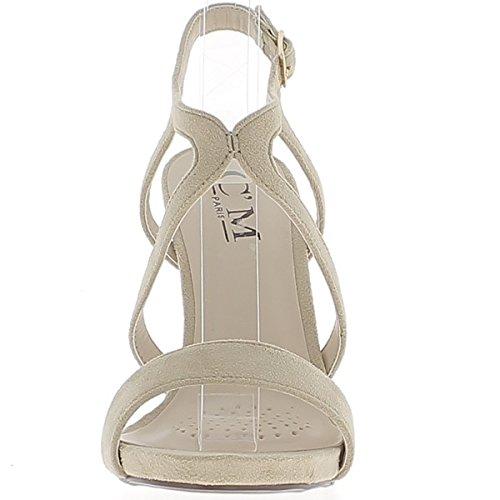ChaussMoi Belle Camoscio Aspetto 11,5 cm Sottili flange da Tacco Sandali Nude Beige