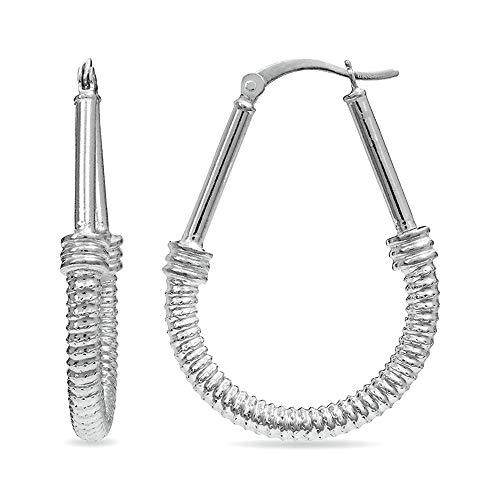 (LeCalla Sterling Silver Jewelry Light Weight Tube Drop Shape Hoop Earring for Women)
