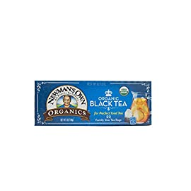 Newman's Own Organic Black Tea, 22-Count Family Size Bags, 5 oz, (Pack of 6). Packaging May Vary. 77 Contains 6 boxes of 22 family size tea bags. 4 single serve tea bags equal 1 family size tea bag Organic Black Tea for perfect iced tea USDA Certified Organic and Kosher