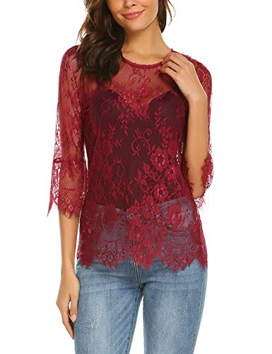 Dealwell Women's Scalloped Trim Hem Top 3 4 Bell Sleeve Sheer Floral Lace Blouse Wine Red