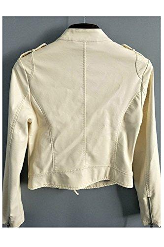 Bf Femmes Style Les Outcoat Veste Kaka Décontracté Ferme Cuir Blazer Punk Beige Court Moto S FawqYdwP