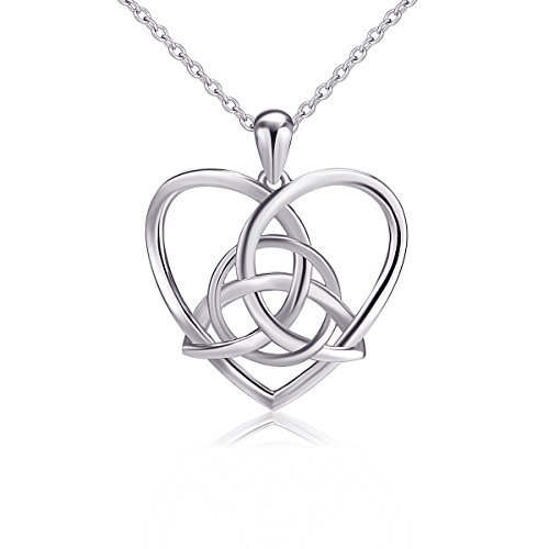 Celtic love knots amazon 925 sterling silver good luck irish celtic knot triangle vintage love heart pendant necklace 18 inches aloadofball Image collections