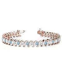 14k Gold Aquamarine and Diamond Tennis S Link Bracelet