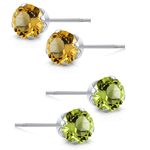 925 Sterling Silver Round Green Peridot and Yellow Citrine Stud Earrings Set of 2