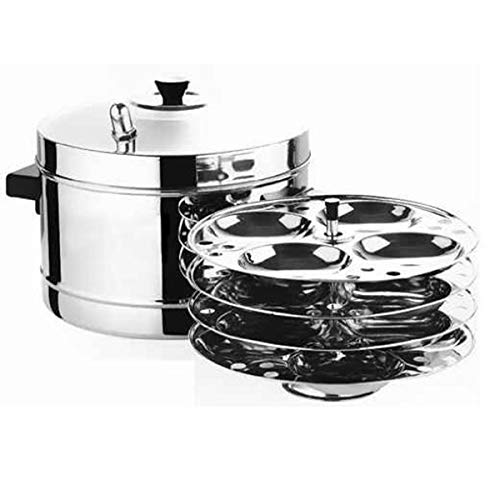 IndiaBigShop Stainless Steel Idli Cooker with Strong Handles, Makes 16 Idlis (Best Idli Cooker Brand)