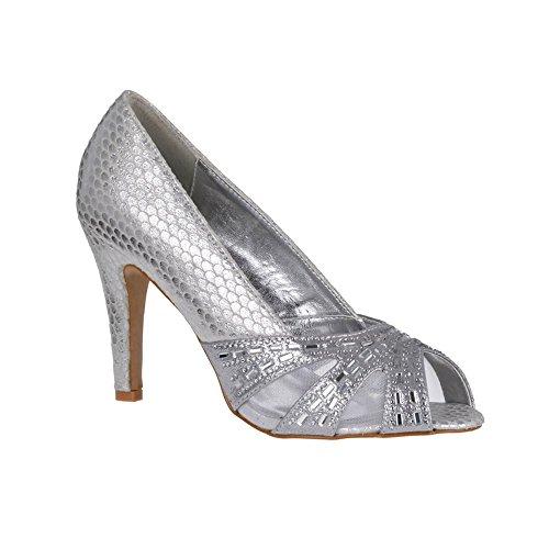 Diva Plata Mujer Zapatos Miss Tacón Con vpTn0x