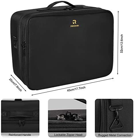 MONSITNA Extra Large Makeup Case 17.7 Inch Super Large Capacity Travel Makeup Train Case Professional Makeup Artist Case Nail Polish Organizer Storage Box with Two Adjustable Shoulder Strap