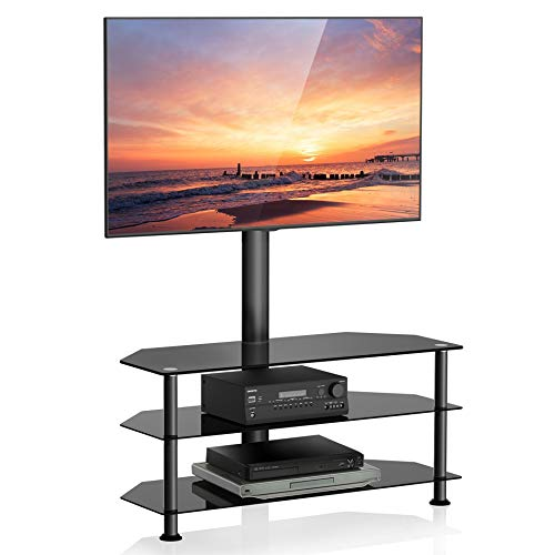 FITUEYES Floor TV Stand with Swivel Mount and Height Adjustable Bracket for 32 to 65 inch LCD LED QLED Plasma Flat or Curved Screen TVs and 3-Tier Tempered Glass Media Storage Shelf Black