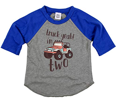(Olive Loves Apple 2nd Birthday Truck Yeah I'm Two Shirt Second Birthday Truck Themed Outfit for Baby Boy Blue 3/4 Sleeve Raglan)