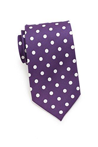 Bows-N-Ties Men's Necktie Bold Polka Dot Microfiber Satin Tie 3.1 Inches (Plum and - Distinction Plum