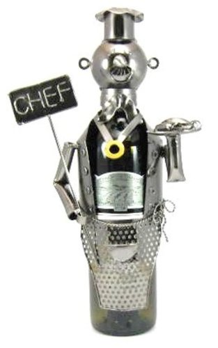 Berkeley Designs Metal Chef with Sign Wine Bottle Caddy and Holder