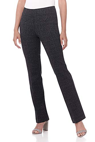 Rekucci Women's Secret Figure Pull-On Knit Bootcut Pant w/Tummy Control (6,Black/Charcoal - Detail Leg Trousers Wide