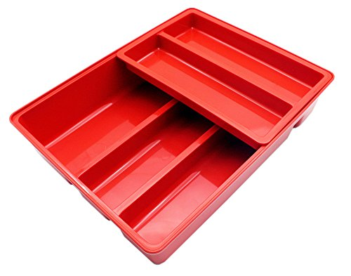 Mabalo Double Movable Cutlery Tray, 2 in 1 Large Cutlery Drawer Organizer Holder, 12 x 9.5 x 2.6, Colorful (Red)