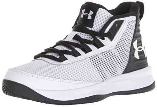 Under Armour Boys' Pre School Jet 2018 Basketball Shoe White (100)/Black 13K