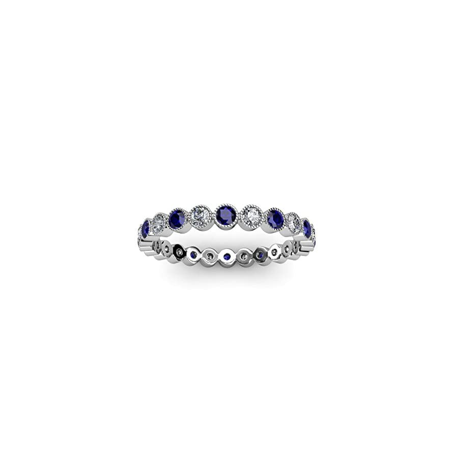 TriJewels Blue Sapphire & Diamond 2.7mm Bezel Milgrain Eternity Band 1.15 to 1.29 ct tw in 14K Gold