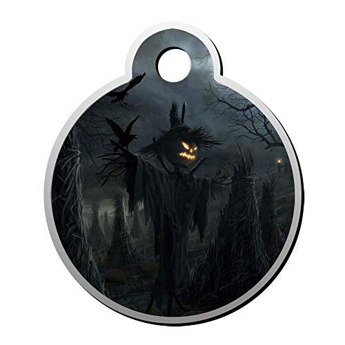 HOJEY Custom Halloween Dark Pumpkin Pet ID Tag Round Shape Circular Personalized Dog Tags & Cat Tags Identity Collar Tags]()
