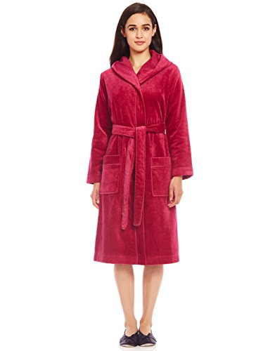 Terry Wrap Belted Short Hoodie Bathrobe with Contrast Piped Trim (S, Berry)