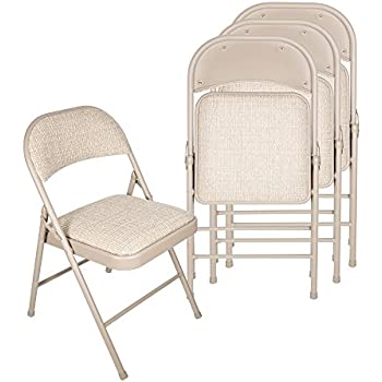 Amazon Com Meco 4 Pack Deluxe Fabric Padded Folding Chair