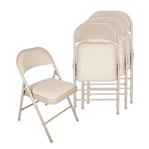 Deluxe Fabric Padded Folding Chair (Set of 4) - Beige