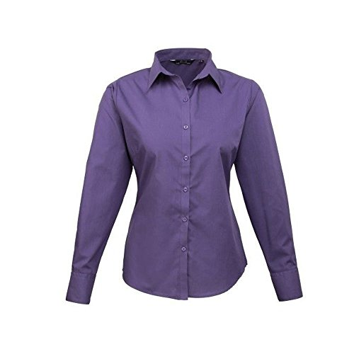 Chemisier longues Violet manches Uni popeline Chemise pour Violet en Femmes femme dIPgxd
